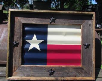 TEXAS flag framed tin rustic