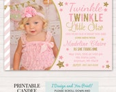 Twinkle Twinkle Little Star Invitation - Twinkle Little Star Birthday - Pink and Gold Birthday - Pink and Gold 1st Bday - Printable