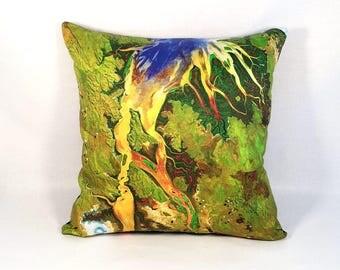 ON SALE: NEW - Tropical Australia Pillow Cover - Satellite Image on Fabric; green yellow blue; Australian geology; Usgs Nasa Landsat Photogr