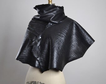 OOAK Leather Cape - Leather Cape Poncho - Leather Caplet - Handmade Leather Cape - Goth - Bolero Leather Jacket