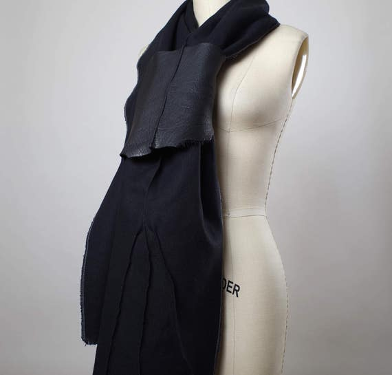 Leather Black Scarf -  Long Black Scarf - Spring Black Scarf - Denim Black Scarf - Women's Accessories - Leather Scarf
