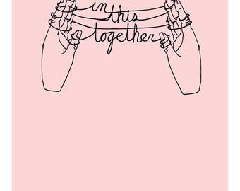 In This Together 8x10 Print, Hand Print, Cats Cradle Print, Illustrated Print, Art Print