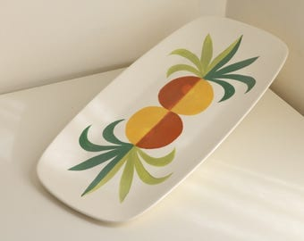 Midcentury Large Centerpiece Tray + Platter by Metlox Vernonware in Tropicana Pineapple Pattern, rare version with no gold accents