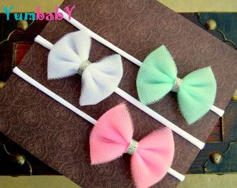 Baby headband SET, Baby Headband, Pink Bows, Baby Bows, Newborn headbands, Nylon Headbands, bows, Baby hair bows, White Headband