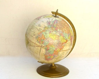 Vintage World Globe, Crams Antique, Ivory Tones, 12 Inch Globe, Gold Brass Base, Excellent Collection, Educational Toy, Home Decor,