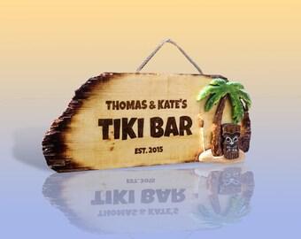 Tiki Hut Sign - Custom Personalized Tiki Bar Pool Bar signs, wooden signs, cabana sign pyrography art palm tree tiki torch tiki idol beach