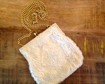 Beautifully white beaded vintage purse with gold chain/ clutch by Gems by George