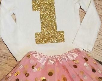Baby girls 1st birthday shirt Birthday onesie gold birthday shirt gold and pink birthday outfit 1st Birthday onesie pink gold tutu one shirt