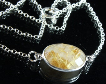 Rutile Quartz Necklace, Sterling Silver, yellow gemstone, rutilated quartz, fine stackable necklace, layered necklace, gift for her, 3240