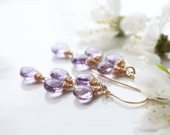 Amethyst earrings, Gold fill wire wrap earrings, lavender purple gemstone cluster earrings, February birthstone, holiday gift for her, 3255