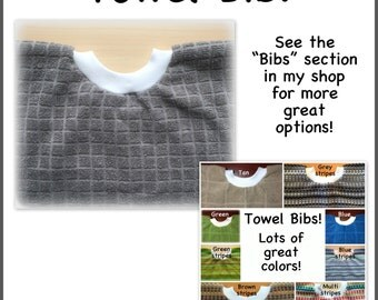 1 Towel Bib - grey towel bib, girl boy - kitchen towel bib - dish towel baby bib dish towel bib
