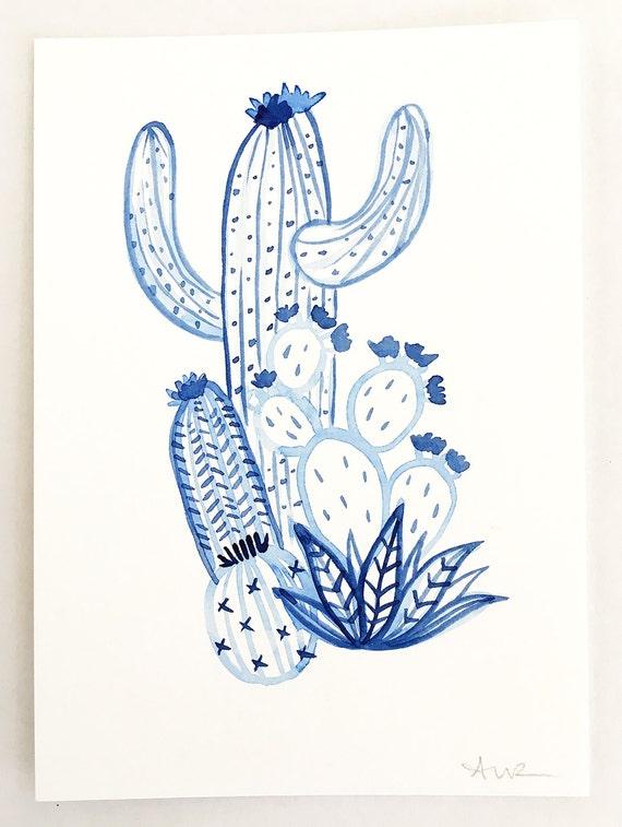 Cactus Party in Blue // Cactus Art // Cactus Watercolor // Botanical Art // Nursery Art // Blue Art // Flower Art