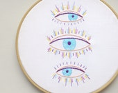 Embroidery kit PDF, eye embroidery, hand embroidery patterns, embroidery design, evil eye, eyelashes, embroidery pattern PDF  by NaiveNeedle