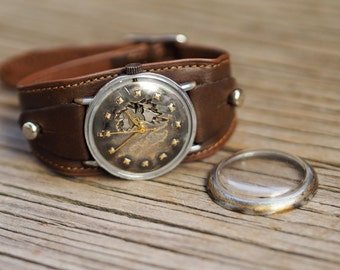 Custom steampunk  watch, modified USSR Raketa watch