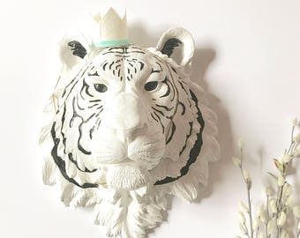 CUSTOM ANY 2 Colors Large Faux Taxidermy Tiger Head wall mount Choose your own colors / faux animal head / safari animal wall art kids room