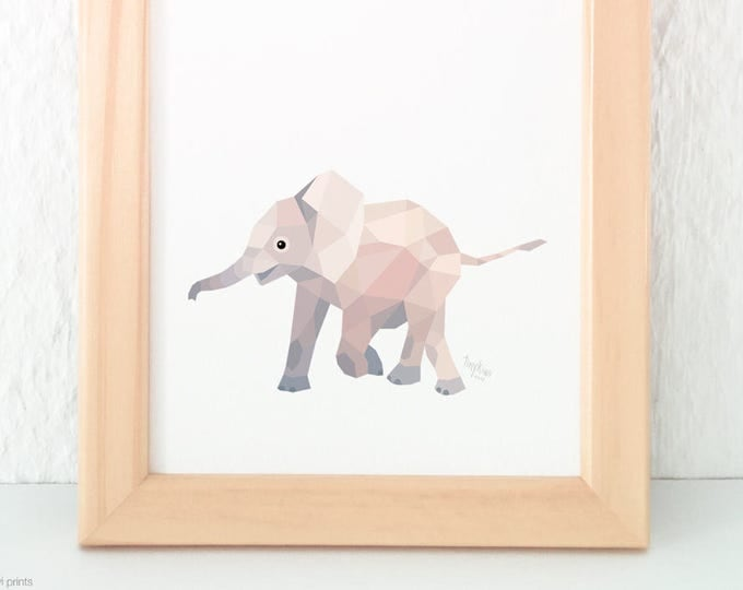 Baby elephant illustration, Elephant print, Elephant art, Geometric print, Cute baby art, Baby bedroom art, Nursery animals, African theme
