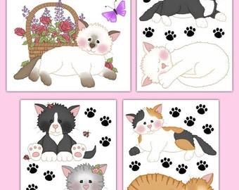 CAT WALL DECALS Baby Girl Nursery Childrens Room Decor Kids Bedroom  Playroom Kitten Kitty Paw Prints Part 88