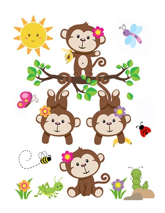 Mono vivero etiqueta beb ni a arte mural pegatinas decoraci n for Pegatinas decoracion bebe