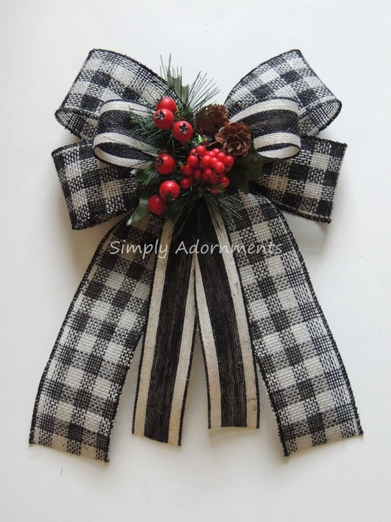Black White Buffalo Check Wreath bow Red Berries Burlap Buffalo check Bow Burlap Buffalo lantern Bow Front door Bow Burlap Buffalo Gift Bow