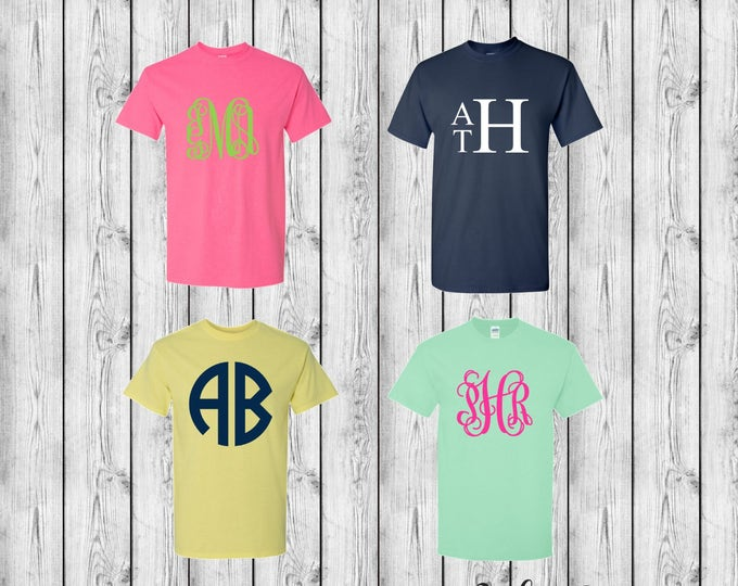 Monogram T-Shirt, Monogram tee shirts, Monogrammed Gifts, Mother Daughter T shirts, Group Order Discounts, Custom T Shirts