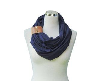 Fashion infinity scarf, Navy with leather cuff, dark blue scarf