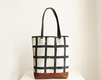 Grid Print Tote bag, Casual Tote bag, Geometric, Black and White, Everyday tote, Handbag, Tote