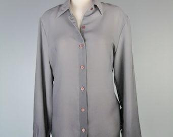 Ombre Blouse / Vtg 80s / Jordan Made in Korea / Gray Ombre Blouse / Ombre button down