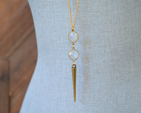Long Crystal Necklace - Long Gold Spike Necklace - April Birthstone Necklace - Clear Rhinestone Lucite Necklace - Gold Layering Jewelry