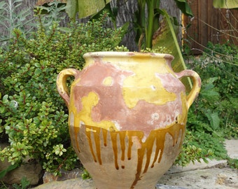 Antique Old French Pottery Ceramic Confit Pot Mustard Yellow Glaze circa 1850