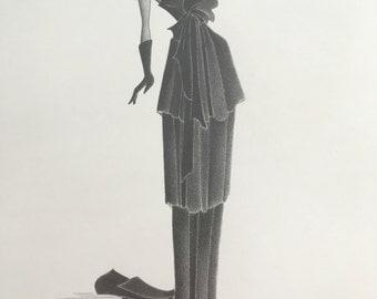 glamorous fashion illustration / original pencil drawing / vintage style art