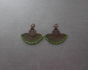 Large Boho Earrings - Huge Copper Wire Crocheted Earrings - Ethnic Green Dangle Earrings - Statement Unique Earrings - Crochet Jewelry