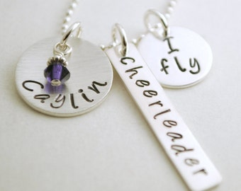 Cheerleader Necklace - Custom Cheerleading I Fly - I Base -  Personalized Cheer Necklace - Hand Stamped Sterling Silver Jewelry