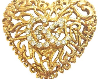 Vintage Christian Lacroix golden edwardian heart and arabesque design brooch, hat pin, jacket pin with crystal stones. Perfect jewelry.