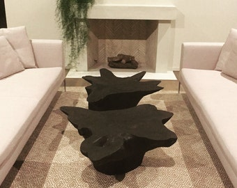 Tree Stump Table // Shou Sugi Ban Table // Wood Coffee Table // Modern Coffee Table // Root Ball Table