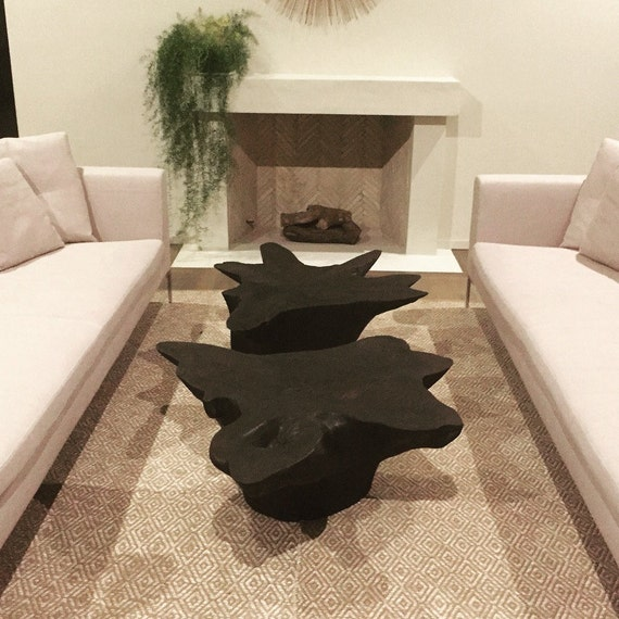 Large Tree Stump Coffee Table: Tree Stump Table // Shou Sugi Ban Table // Wood Coffee Table
