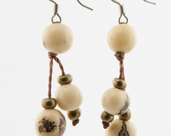 Acai Seed Earrings / Ivory White Earrings / Acai Seed Jewelry / Acai Earrings / Fair Trade / Seed Jewelry / Seed Earrings