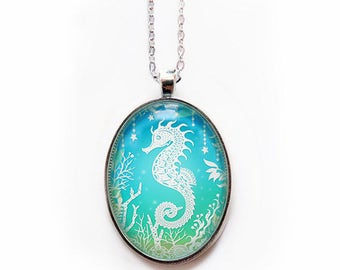 "Seahorse Necklace - Papercut Illustration Pendant with 24"" Silver Chain"