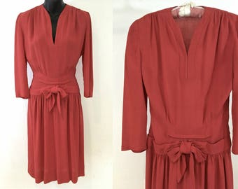 Salmon-Colored 1930s 'Violet Tatum' Label Day Dress