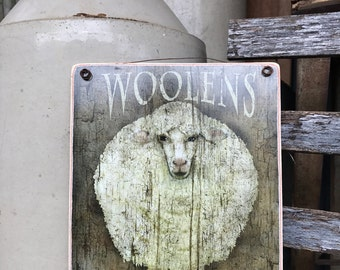 Wooly Sheep Folk Art -Adhered To Wood-8''x10''-Ready To Display-Primitive Art-Handmade In Ohio-Wood Sign-Wall Art