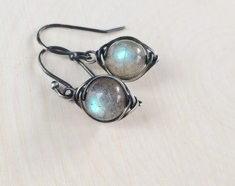 Labradorite Earrings Labradorite Earrings Oxidized Sterling Silver Gemstone Earrings Dangle Earrings Blue Flash