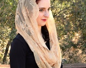 Catholic Veil Christian Headcovering - EVM38 -The Infinity Scarf Mantilla Veil Original,  in Embroidered Gold  Lace