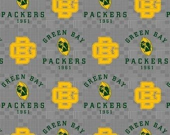 NFL Fabric, Green Bay Packers Football, Football Fabric, Gray Cotton Broadcloth Fabric, By the Half Yard
