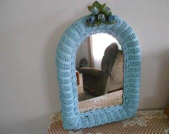Vintage wicker mirror hand pained blue, retro mirror