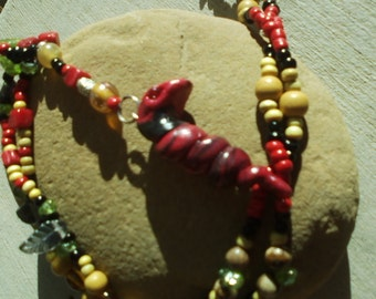 Red snake pendant ,beaded necklace/filo clay