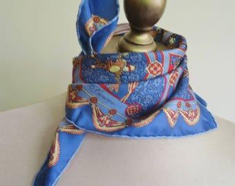 FRENCH silk pochette, small silk scarf, vintage square scarf, blue silk, neckerchief, A.C. canova, soieries de Lyon, marionette, blue