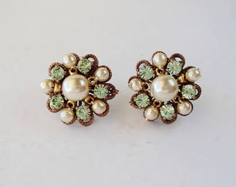 Light Green Rhinestone Stud Earrings. Rhinestone Jewelry of Pearls & Crystals. Colorful Rhinestone Studs. Gifts for Spring Summer Greenery
