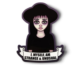Strange and Unusual Lydia Sticker - Laptop Sticker, Pastel Goth, Aesthetic, Movie Quote, Creepy Cute