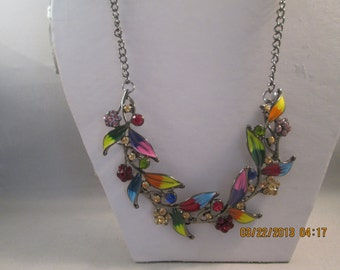 Deep Silver Tone Chain Necklace with Multi Color Leaf Pendants and Clear, Red, Pink and Yellow Rhinestones