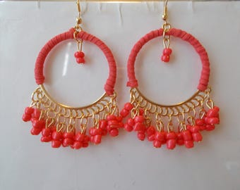 Gold Tone and Pink Hoop Earrings with Pink Bead Dangles