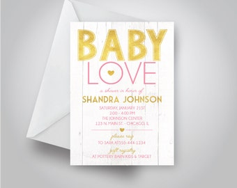 """Gold and Pink """"Baby Love"""" Baby Shower Invitation, White Wood Background, Baby Girl Shower, 5x7 invitation"""